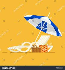 Beach Umbrella And Chair Vacation Travel Concept Beach Umbrella Beach Stock Vector