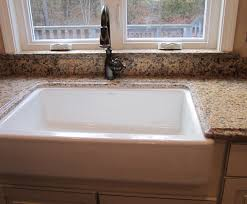 Kitchen Window Sill Decorating Ideas by Granite Behind Faucet To Window Sill Farmer U0027s Under Mount Sink