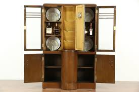 art deco 1935 vintage oak china curio bookcase cabinet with clock