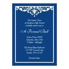 formal invitation blue flourish formal prom invitation card