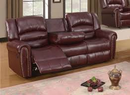 Reclining Sofa With Center Console Burgundy Leather Reclining Sofa With Console And Nailhead