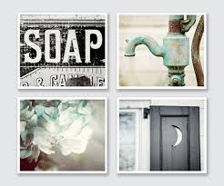 Wall Art Ideas For Bathroom Rustic Bathroom Decor Set Of 4 Prints Or Canvas Art Bathroom