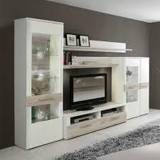 Wohnzimmerschrank Eiche Anbauwand In Weiß Eiche Dekor Beleuchtung 5 Teilig
