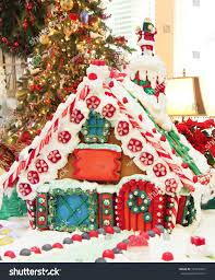 beautiful homemade christmas gingerbread house holiday stock photo