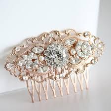 rose gold wedding hair comb art deco bridal hair accessories