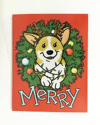 merry corgi christmas lights wreath two sided holiday