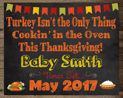 thanksgiving pregnancy announcement printable card sign