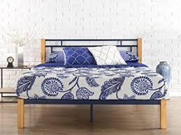 amazon com zinus epic metal u0026 wood platform bed with wood slat