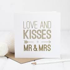 and kisses to mr and mrs card bespoke verse