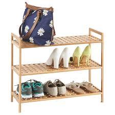 vonhaus 3 tier slimline bamboo shoe rack shelf organiser l70cm x