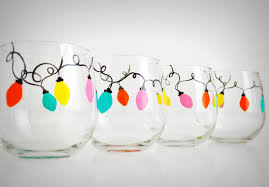 Retro Christmas Lights by Christmas Decorated Wine Glasses U2013 Decoration Image Idea
