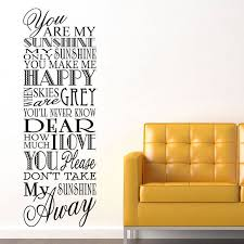 You Are My Sunshine Wall Decor You Are My Sunshine U0027 Wall Stickers By Parkins Interiors