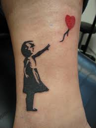 red balloon tattoo on right ankle for girls photo 3 photo