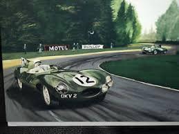 stirling moss jaguar d type racing car le man engagement card