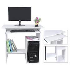 White Wood Computer Desk White Wooden Computer Desk Sliding Keyboard 2 Shelves Office Study