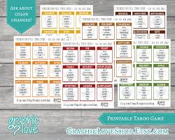 Football Thanksgiving Games Printable Thanksgiving Fall Taboo Game 54 Cards Holiday