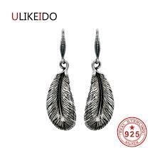 feather stud earrings 100 925 sterling silver earrings fashion jewelry
