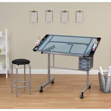 Studio Designs Vision 2 Piece Blue Glass Top Drafting Table With