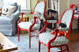 Stuffed Chairs Living Room by Diy Upholstered Armchairs In Red And Chevron