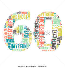 60 birthday celebration word cloud happy birthday celebration colorful stock vector