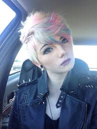 short white hair white with cotton candy pink and blue hair colors ideas