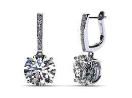 earring drop 18k white gold diamond drop lever back halo style earring