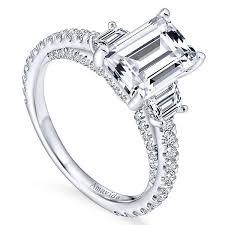 white stones rings images 18k white gold emerald cut 3 stones diamond engagement ring jpg