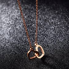 aliexpress heart necklace images Top selling stainless steel everyday jewelry dainty double heart jpg