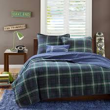 Navy Blue Coverlet Queen Masculine Navy Blue U0026 Green Plaid Teen Boy Bedding Twin Xl Full