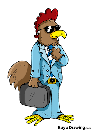 cartoon drawing of a business yolo chicken rooster done for my