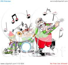 cartoon of santa an elf and reindeer in a rock and roll christmas