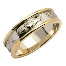claddagh wedding ring mens two tone claddagh and celtic wedding band