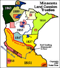 minnesota on map minnesota indian treaties 1805 1899