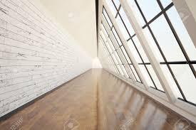 clean corridor interior with dark wooden floor light wall