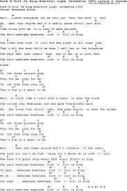 electric light orchestra songs love song lyrics for rock n roll is king electric light orchestra