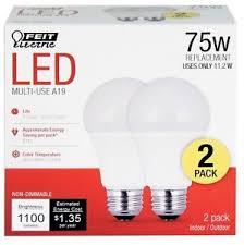 75 watt led light bulbs 2 pack feit 75 watt led light bulb soft white general purpose a19