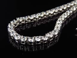 3mm diamond mens white gold finish sterling silver lab diamond 1 row chain