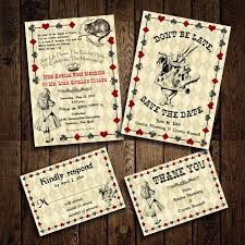 Wedding Invitations And Rsvp Cards Printable Alice In Wonderland Wedding Invitation Set Rsvp Card