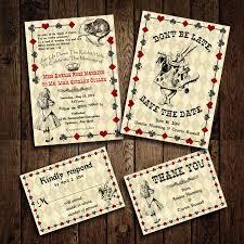 Invitations And Rsvp Cards Printable Alice In Wonderland Wedding Invitation Set Rsvp Card