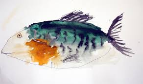 drawing fish with pen pencil and watercolour
