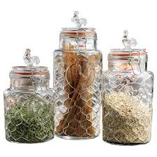 clear glass canisters for kitchen set of three 3 round clear glass airtight rooster canisters with
