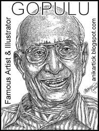 the famous artist and illustrator gopulu portrait in pen drawing