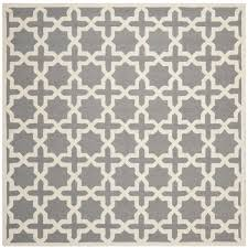 Square Wool Rug Safavieh Handmade Cambridge Moroccan Silver Geometric Motif Wool