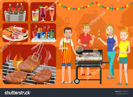 Backyard Bbq Grills by House Backyard Outdoor Picnic Party Barbecue Stock Vector