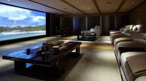 home theater room design ideas red carpet floral pattern wall