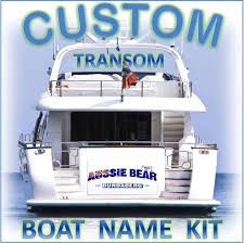 custom boat yacht transom name shadow outline 1000mm decal