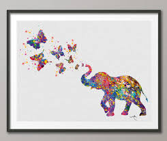 elephant spraying butterfly print watercolor painting