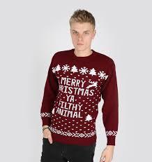 merry christmas ya filthy animal sweater maroon ugly christmas