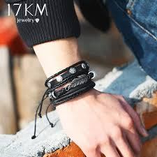leather bracelet wristband images 17km fashion leaves owl leather charm bracelets set for men women jpg