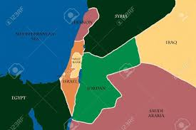 Map Of Israel Colored Map Of Israel And Palestine Stock Photo Picture And